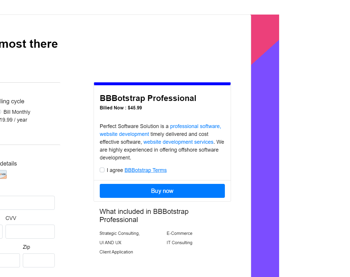 Bootstrap 4 Service Or Product Billing Checkout Page Web